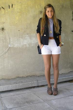 made by myself blazer - Zara top - Zara shorts - Zara shoes - vintage purse
