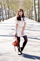 brown leather Kate Lee bag - two piece white Choies skirt - American Retro flats