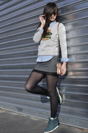 grey PERSUNMALL skirt - grey burger Tally Weijl jumper - green nike sneakers
