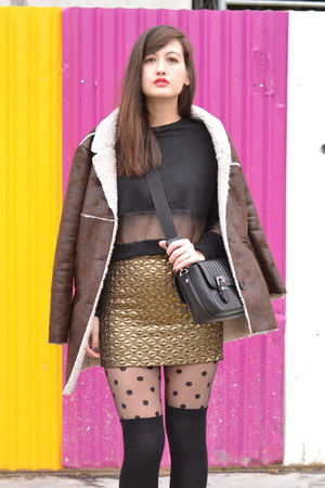 brown Mango coat - black Zara bag - gold Mango skirt