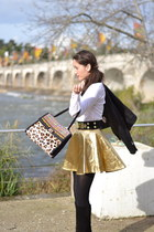 gold baby Tally Weijl skirt - suede Chie Mihara boots