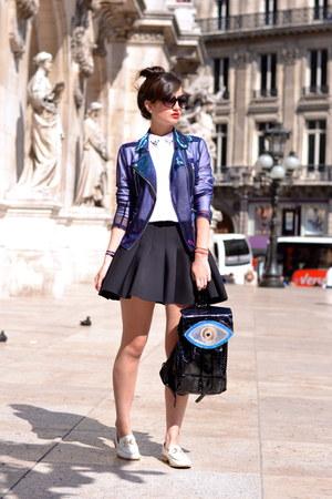 black Sunita Mukhi bag - white and gold Boohoo shoes - purple Tally Weijl jacket