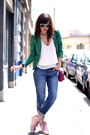 Blue-denim-pimkie-jeans-red-leather-kate-lee-bag-white-top-pimkie-top