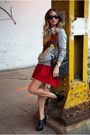 Ruby-red-skater-skirt-forever21-skirt-black-bakers-boots