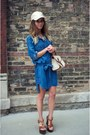 Brown-aldo-wedges-navy-bella-dahl-dress-off-white-free-people-hat