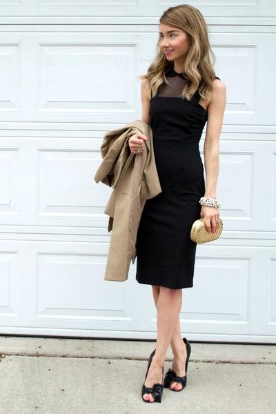 ann taylor cape - BCBGeneration dress - bow peep toe Bebe heels