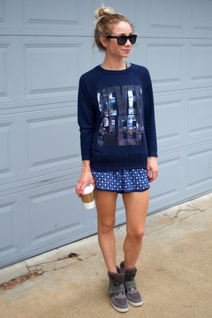 navy asos sweatshirt - navy printed Forever 21 shorts