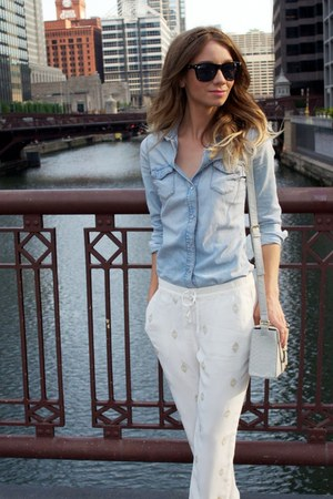 white Anthropologie pants - sky blue Topshop shirt - heather gray Topshop bag
