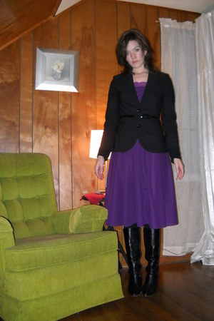 purple vintage dress - black boots - black Grass jacket