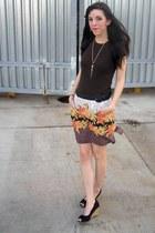 brown thrifted Gap t-shirt - light brown thrifted skirt - black Payless wedges -