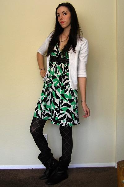 black tights - black boots - green empire waist unkown dress - white cardigan