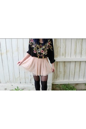 black sequin thrifted vintage shirt - black scalloped Hot Topic tights