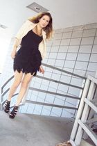 black my creation skirt - black Old Navy top - gold my creation blazer - black A