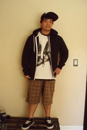 Old Navy jacket - Estevan Oriol shirt - RVCA hat - Machine shorts - Vans shoes
