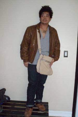 chia jacket - Alexander Wang t-shirt - random brand purse - Levis jeans - Timber