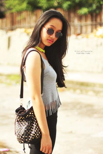 black studed bag - black leggings - heather gray bodysuit - yellow necklace