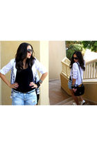 white market find blazer - black pull&bear top - blue Bershka shorts - white new