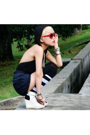 black Victorias Secret top - blue D&G shorts - black taiwan socks - white Random