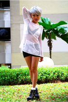 white Mango top - gray DIY intimate - black Market shorts - white KiddieSocks so