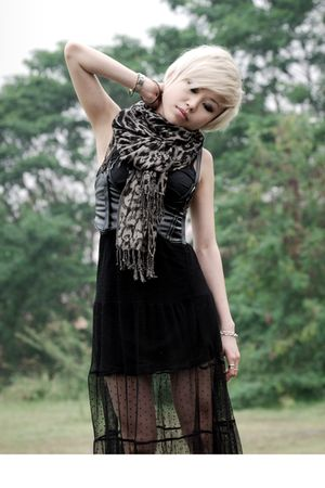 black CottonOn dress - black Topshop skirt - brown warehouse scarf - black taiwa