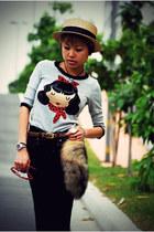 navy flare Gap jeans - black Aldo heels - silver Zara top - dark brown faux fox