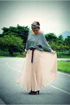 dark brown H&M shoes - burnt orange DIY scarf - eggshell InMyBlogshop skirt - he