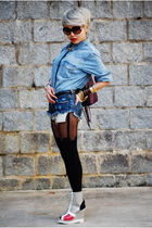 blue H&M top - blue Levis shorts - black House of Holland tights - silver taiwan