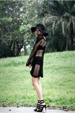 black Eclipse hat - black Topshop dress - black Aldo shoes
