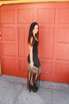 black fringe nastygal dress - heather gray Vintage Gucci bag