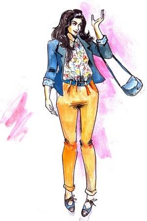 floral Orsay shirt - vintage shoes - navy Promod blazer