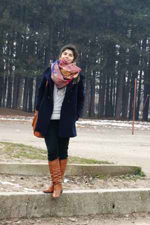colorful scarf - leather boots - navy coat - studded blouse - curdoroy pants