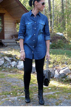 blue GINA TRICOT shirt - black GINA TRICOT leggings - black boots