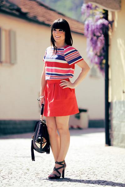 red striped Zara shirt - dark brown indy Gucci bag - light brown python Jimmy Ch
