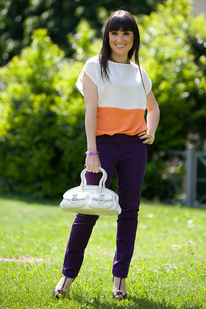 ivory detective christian dior bag - deep purple Fendi sandals - carrot orange Z