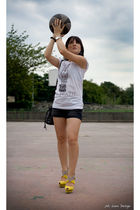 white Happiness is a 10 tee t-shirt - black Zara shorts - yellow cesare paciotti