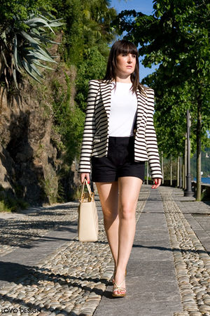 blue Zara shorts - white basic shirt - Zara jacket - gold Louis Vuitton shoes -