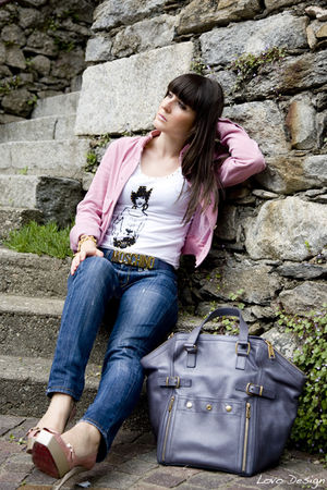 blue liu jo jeans - white Whos who top - pink vintage jacket - pink cesare pacio
