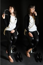 black American Apparel leggings - white handmade t-shirt - black celyn b sweater