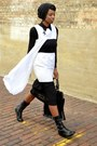 Black-urbanog-boots-white-asymmetrical-thrifted-dress-black-thrifted-dress