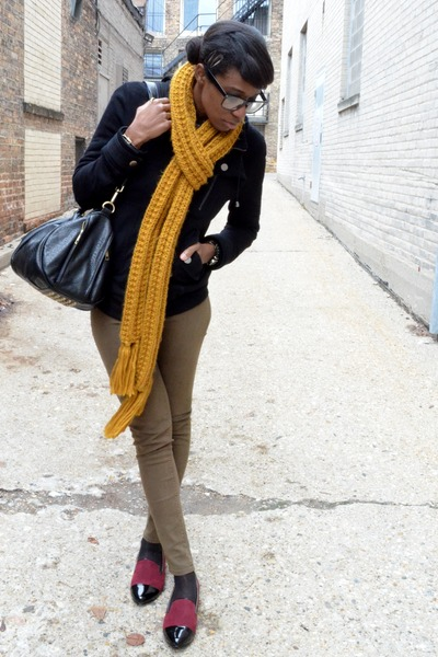 mustard Forever 21 scarf - olive green skinny Flying Monkey jeans
