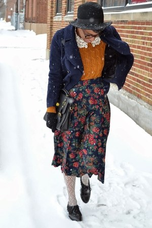 dark brown JollyChic coat - black fedora thrifted hat - navy JollyChic jacket