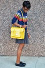 Black-tropical-wear-dress-yellow-vj-style-bag-blue-fervour-top