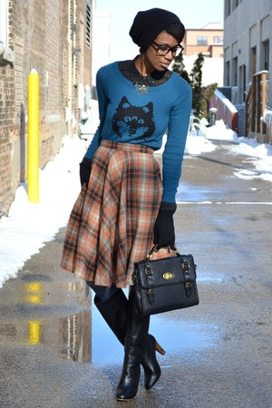 orange pink martini skirt - black modcloth boots - blue wolf Ladakh sweater