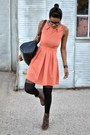 Black-asos-tights-dark-brown-thrifted-boots-peach-box-pleat-thrifted-dress