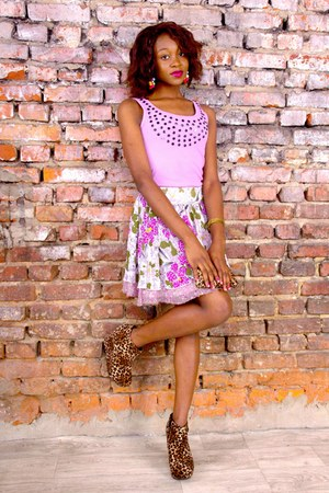 skater new look skirt - sleeveless OLKO top - wedges Boohoo wedges