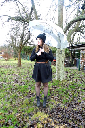H&M boots - H&M hat - H&M shirt - H&M tights - OMG Fashion skirt