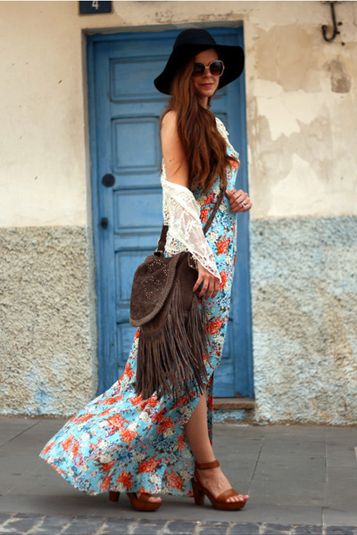 brown next bag - sky blue JARLO dress - cream next cardigan - brown next sandals