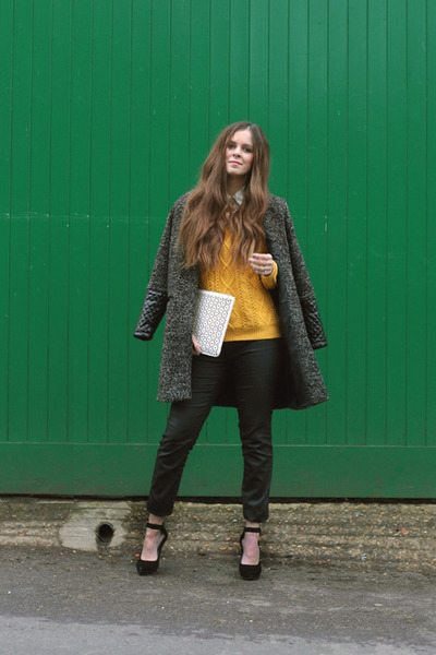 mustard Love Struck sweater - black next jeans - white next bag