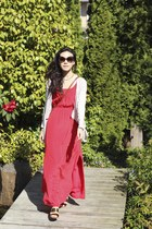 gold sam edelman shoes - hot pink silk maxi dress Club Monaco dress