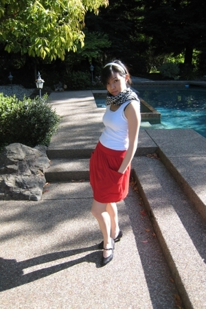American Apparel shirt - ammerican apparel skirt - Sofft shoes - scarf